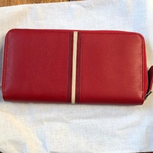 Bally Zip Around Red Leather Wallet